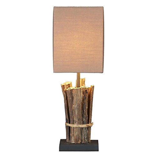 Signature Designs Raw Teak Wood Table Lamp, 17.5'' (Set of 2) by Red Co. (Image #1)