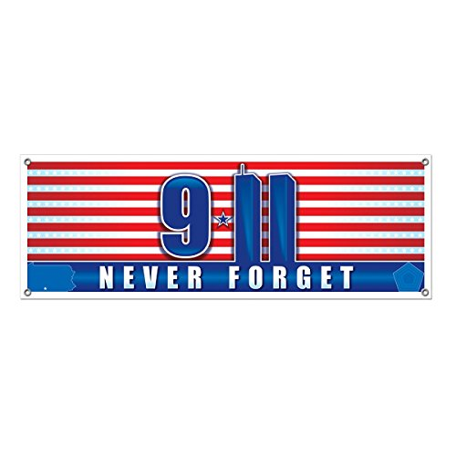 Club Pack of 12 Patriotic Red, White and Blue 9/11 Never Forget Twin Towers Sign Banner 60