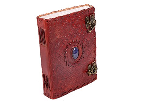Handmade Large 8 Embossed Leather Journal Celtic two latches blue stone blank personal Diary notebook refillable journal gift