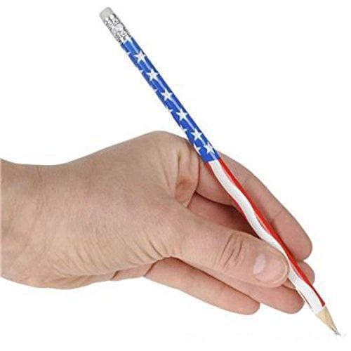 Play Kreative 12 Patriotic USA Flag Wooden Pencil Erasers Party Favor 7.5-1 DZ American Stars /& Stripes Design Pencils TM