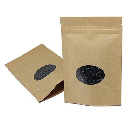 (4.3x6.2 inch) Brown Kraft Paper Stand Up Reclosable Valve Zipper Top Food Beans Storage Bag with Round Clear Window Plastic Paper Zip Lock Moisture Proof Package Bag 50 Pieces by MITOB