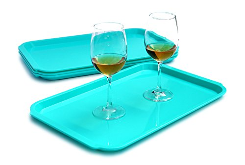 Honla Plastic Serving Trays-Set of 4-Fast Food Trays for Cafeteria,Restaurant,Cafe,Kitchen or School Lunch,11 by 17-Inch,Teal - Edge Serving Tray