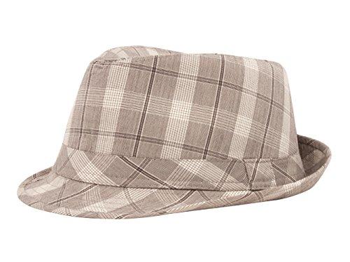 Plaid Design Fedora Hat, White/Grey L/XL