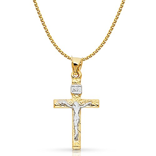 14K Two Tone Gold Crucifix Cross Pendant with 1.5mm Flat Open Wheat Chain Chain Necklace - (Flat Gold Crucifix Cross)