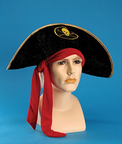 [Loftus International Star Power Pirate Red Bandana Costume Hat, Black, One Size] (Pirate Halloween Costumes Ideas)