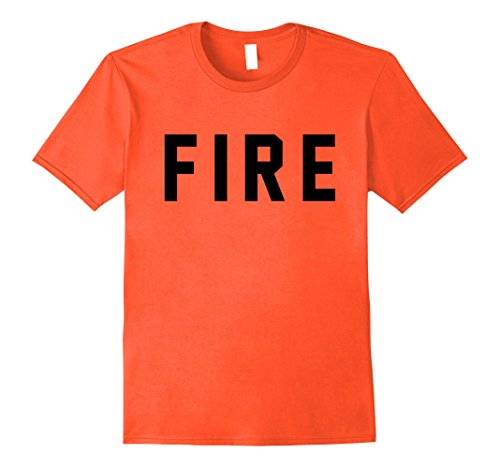 Mens FIRE Firefighter T-Shirt for Costumes and Halloween 2XL Orange