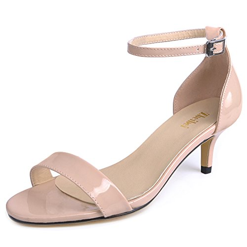 Zbeibei Women's PU Patent Leather Mid Heels Open Toe Summer Shoes Buckle Up Sandals(ZBB1051PA41,nude)