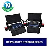 Big Daddy Super Heavy-Duty Stadium Seats - Portable & Easy to Carry - Two Chairs with Two Seat Cushions, Four Baseball Theme Drink Holders & One Blanket - 10 Years Warranty