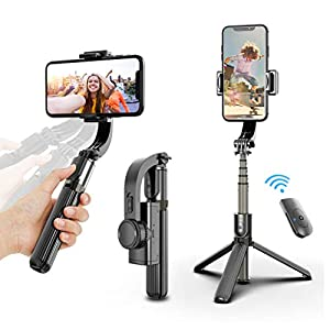 Selfie Stick Tripod, Foldable Gimbal Stabilizer with Bluetooth Wireless Remote, Extendable Cell Phone Tripod, 360° Rotation Portable Phone Holder Stand Compatible with iPhone Android Smartphone 12
