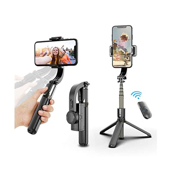 Selfie Stick Tripod, Foldable Gimbal Stabilizer with Bluetooth Wireless Remote, Extendable Cell Phone Tripod, 360° Rotation Portable Phone Holder Stand Compatible with iPhone Android Smartphone 1