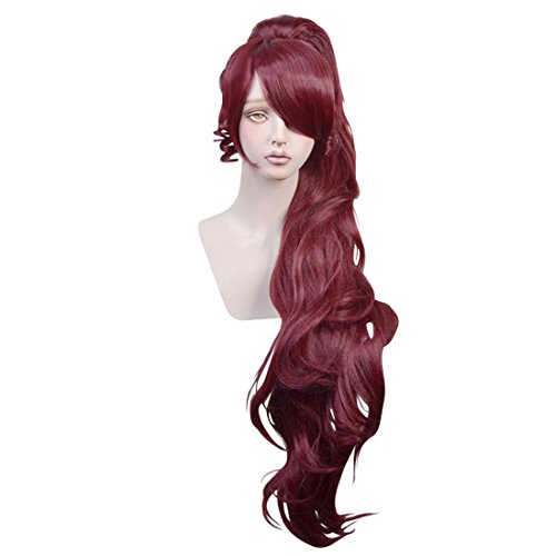 Cfalaicos Wine Red Cosplay Wig with 1 Clip