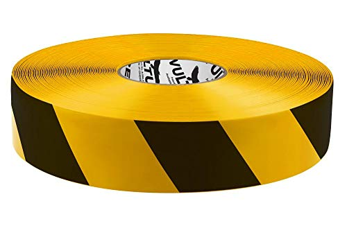 "Yellow and Black, Vulture Floor Tape Floor Marking Tape, Striped Hazard, 2"" Roll, 1 EA, 45VR92"