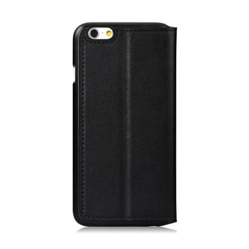 GGMM Kiss Plus-A6 iPh60000 Echtlederbezug Schutzhülle mit Displayschutzfolie für Apple iPhone 6 schwarz