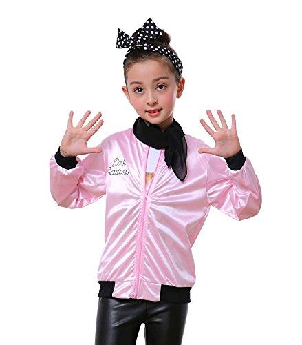 Child Pink Ladies 50's Satin Varsity Jacket Grease Costume