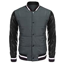 Coofandy Men's Varsity Baseball Bomber Jacket with PU Leather Sleeves