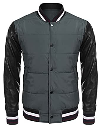 Mens Fashion Varsity Baseball Bomber Leather Sleeves