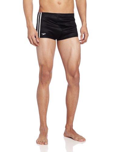 (Speedo Men's Nylon Stripe Square Leg Bathing Suit, Black, 30)