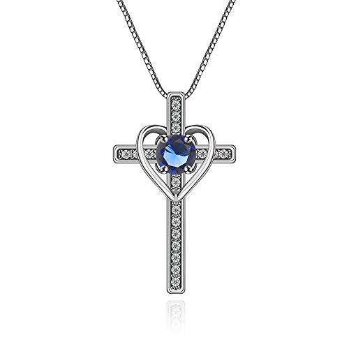 Ovlist 14k White Gold-Plated Round Cut Blue Crystal Cross Heart Pandent Necklace for Women 16