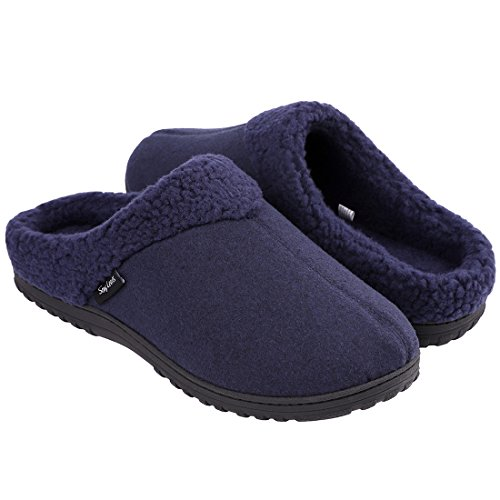 Snug Leaves Mens Cozy Memory Foam Slippers Wool Plush Fleece Lined Indoor Outdoor House Shoes (Large, Navy Blue)