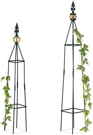 [Gesponsert]Relaxdays Rankhilfe, 2er Set, freistehend, Beet, Topfpflanzen, wetterfest, Rankpyramide H: 99,5 cm & 81 cm, dunkelgrün