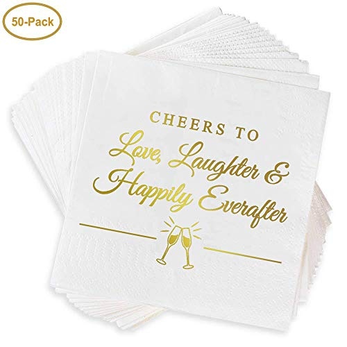 """Napkins for Weddings, Rehearsal Dinners, More -""""Cheers to Love, Laughter & Happily Ever After"""" Gold Lettered White Cocktail Napkins, 4.9 sq. in. Fancy Beverage Napkins & Decór by Bollepo (50)"""
