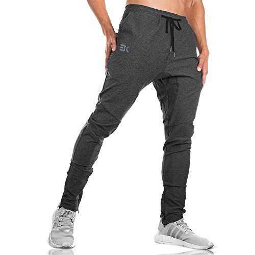 BROKIG Gwings Mens Jogger Sport Pants, Casual Zipper Gym Workout Sweatpants Pockets (S, Dark Grey)