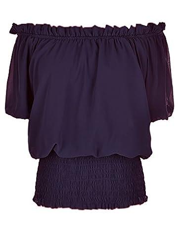 Anna-Kaci Womens Short Sleeve Ruffle Stretch Off Shoulder Boho Blouse Top, Purple, (Sexy Del Wench Del Pirata)