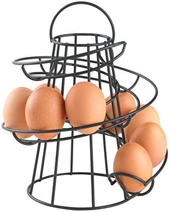 Neo® White Kitchen Storage Spiral Helter Skelter Egg Holder Stand Rack Holds Up to 18 Eggs (Black)