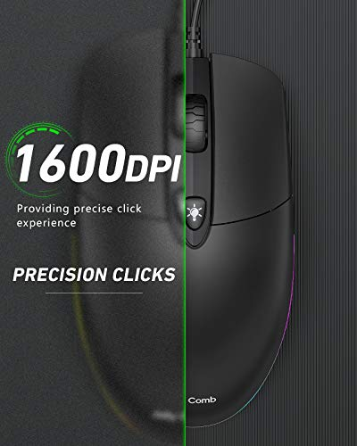 Jelly Comb USB Wired Mouse,RGB Optical Silent Computer Mouse,1600 DPI Office and Home Mice,for Windows PC, Laptop, Desktop, Notebook-MS059 (Black)