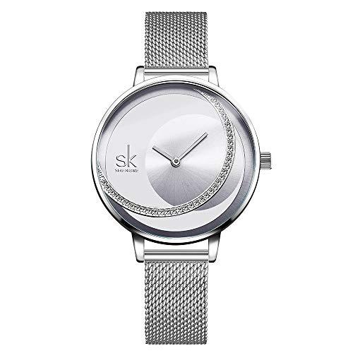 SK Women Watch Fashion Quartz Ladies Stainless Steel Watches Case Female Waterproof Mesh Watches ()