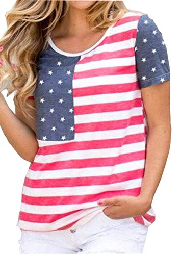 - Women's American Flag Stars Stripes T-Shirt Short Sleeve USA Patriotic Tees Independence Day Top Size L (Red)