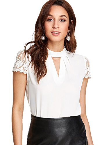(Romwe Women's Elegant Lace Short Sleeve Sexy Keyhole Blouse Shirt White Large)