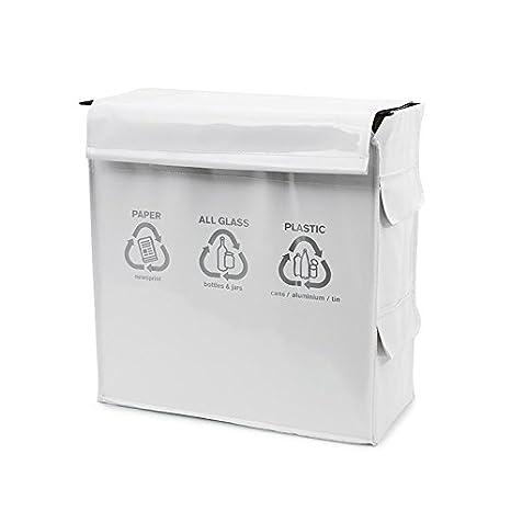 Balvi 25550 Basura Recycle Blanca 3 Compartimentos Reciclaje PVC y Metal