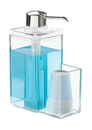 mDesign Dispensador de enjuague bucal - Dosificador para higiene bucal - con división para vasos de papel - también como dosificador de jabón con ...