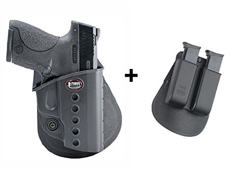 Fobus Concealed Carry Roto Rotating Paddle + 6922 Double Magazine Pouch Holster for Walther PPS/Smith&Wesson S&W M&P Shield/Ruger P95