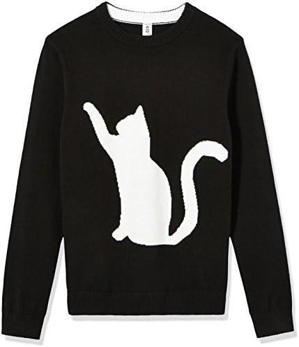Kid Nación las niñas manga larga Pullover Cat Intarsia Jacquard Suéter
