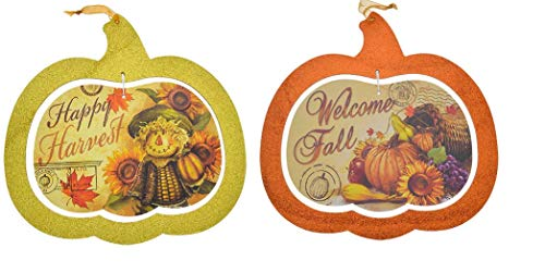 2 Wood Hanging Thanksgiving Pumpkin Glitter Signs. Halloween Decorative Signs. Happy Harvest Fall Autumn Home Decor Signs.]()
