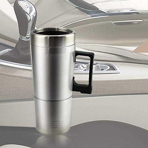 YiiLshaoqx 12V/24V 450ml Auto Car Heating Cup Stainless Steel Electric Heated Water Mug - Silver 12V