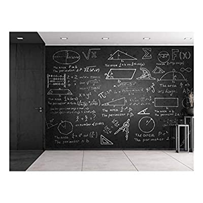 Majestic Visual, Crafted to Perfection, Mathematical Problems on a Chalk Board Wall Mural