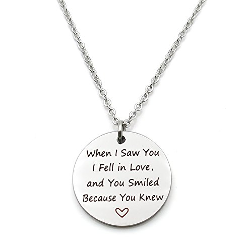 When I saw you I fell in love Stainless Steel Romantic Valentine's Day Gift Pendant Necklace