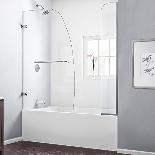 DreamLine Aqua Uno 56-60 in. W x 58 in. H Frameless Hinged Tub Door with Extender Panel in Brushed Nickel, (04 Aqua Shower Door)