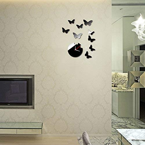 Sodagreen Butterfly Mirror DIY Clock,3D Decal Wall Sticker Home Decoration,Removable Wall Decal Sticker Living Room Meeting Room Office Watches Creative Self-Adhesive Wall Art Mural Decor (as Shown)