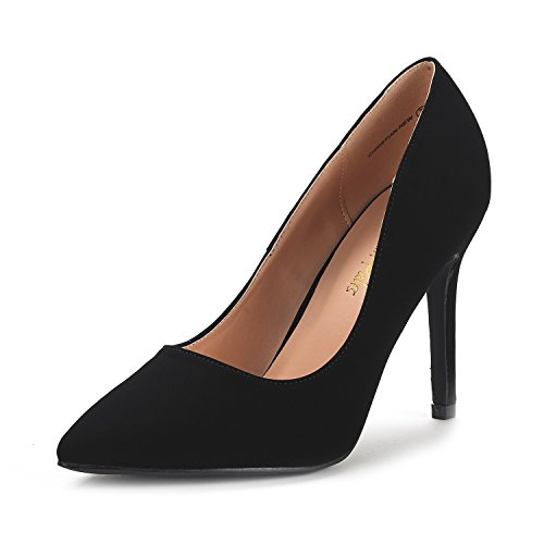 DREAM PAIRS CHRISTIAN-NEW Women's Classic Fashion Pointed Toe High Heel Dress Pumps New BLACK NUBUCK SIZE