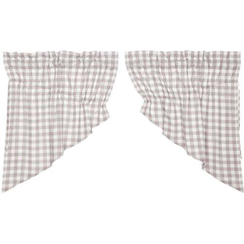 VHC Brands Farmhouse Kitchen Window Curtains - Annie Buffalo Check White Lined Prairie Swag Pair, ()