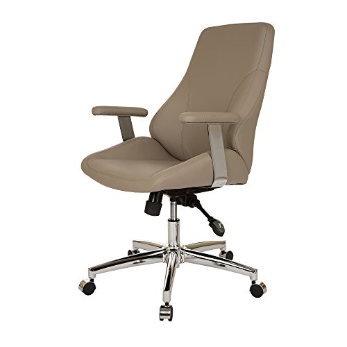 Glitzhome Adjustable High-Back Office Chair Executive Swivel Chair PU Leather, Khaki by Glitzhome