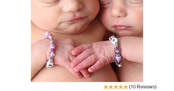 Newborn Size Twin Girls ID Bracelets Set of Two