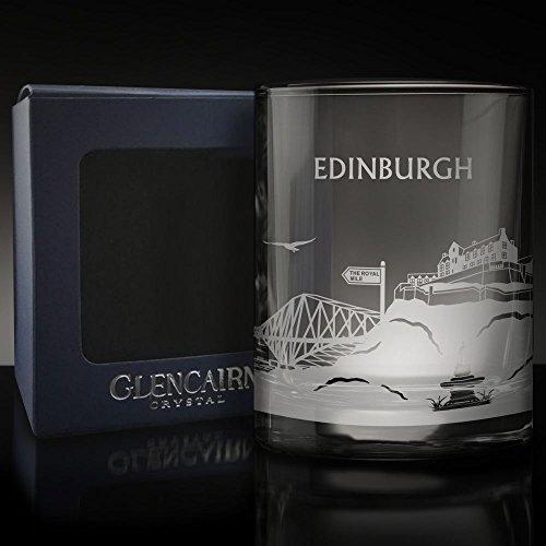 Glencairn EDINBURGH Skyline Glass Etched Whisky Tumbler and Presentation Box 6fl oz