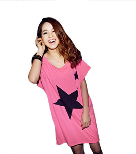 Très Chic Mailanda Damen T Shirt Blusen Fledermausärmel mit Sternenprint (Rosa)