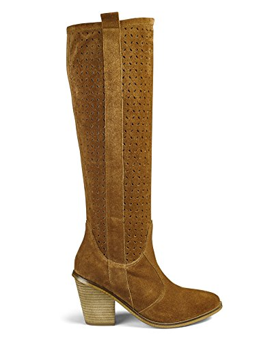 Womens Heavenly Soles Soft Suede Knee High Boots Tan, 4