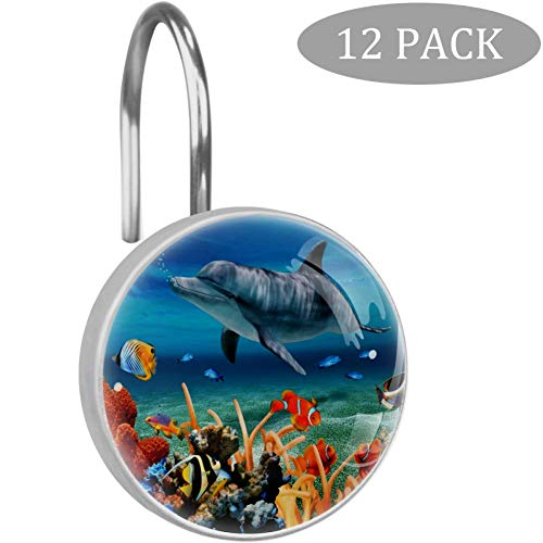imobaby 12 Pcs Love Dolphins Crystal Glass Shower Curtain Hooks for Bathroom and Living Room Decorative